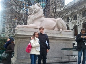 My niece and son at the NY Public Library - the last stop of the Stray Boots Tour.
