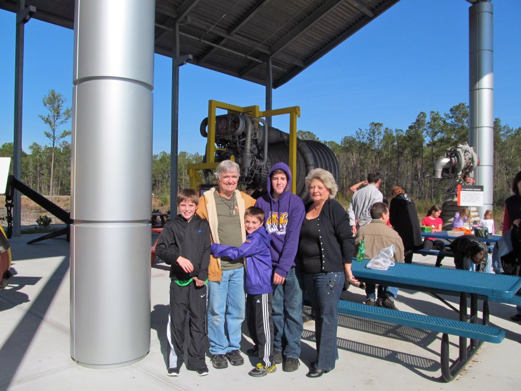 The family by the outdoor exhibits.