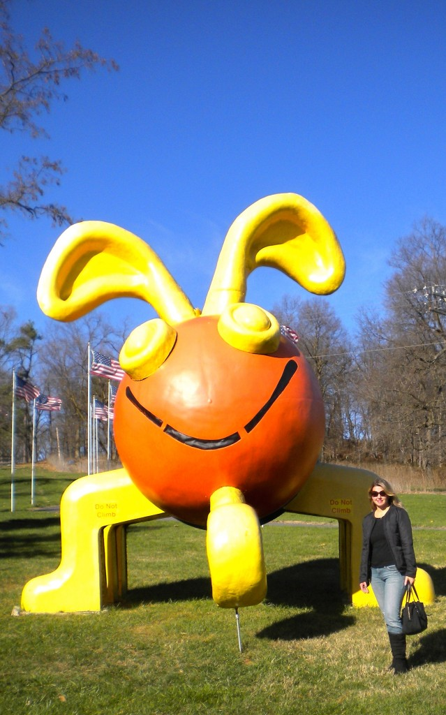 Smiling for my photo-op with the Giant Cootie!