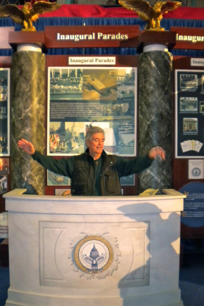 My Dad getting into his speech behind the podium President Obama stood behind at the 2009 Inauguration.