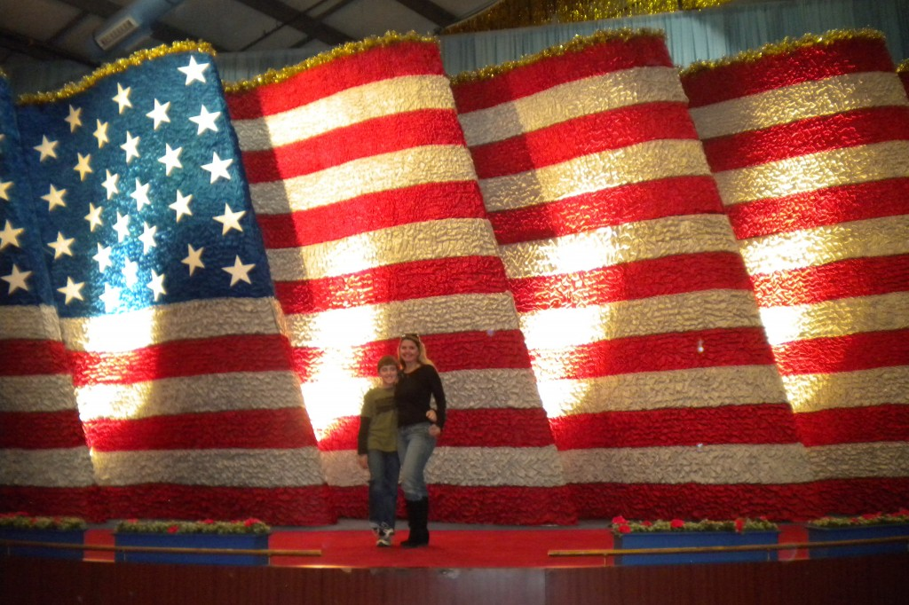 The American Flag float used in the Inaugural Parade.