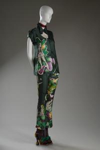 Prada, ensemble, green silk twill with multicolor print, spring 2008, Italy, gift of Prada.