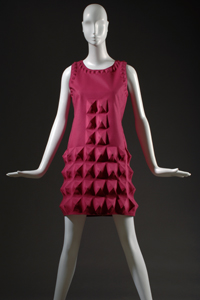 Pierre Cardin, Dress, Fuchsia Dynel (Cardine), 1968, France, 70.62.1, Gift of Lauren Bacall.