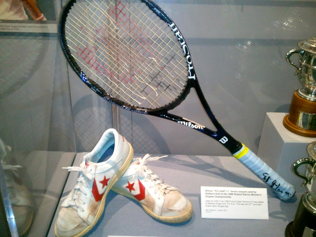 Converse tennis shoes worn by Chris Evert at the 1983 French Open Women's Single Championship when she defeated Mimi Jausovec for her fifth title on the red clay of Stade Roland Garros.