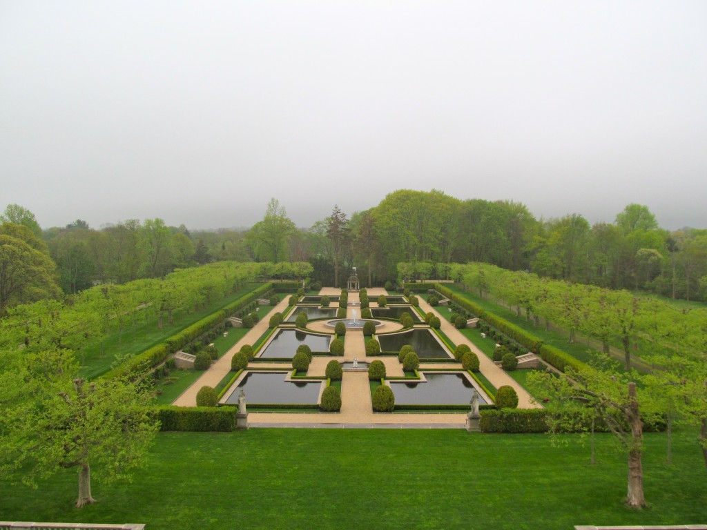 The formal gardens from the balcony of the Olmstead Suite.