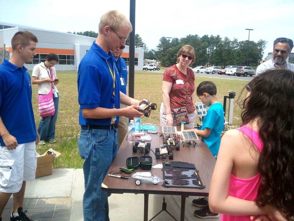 Learning about solar panels with remote control cars powered by the sun.