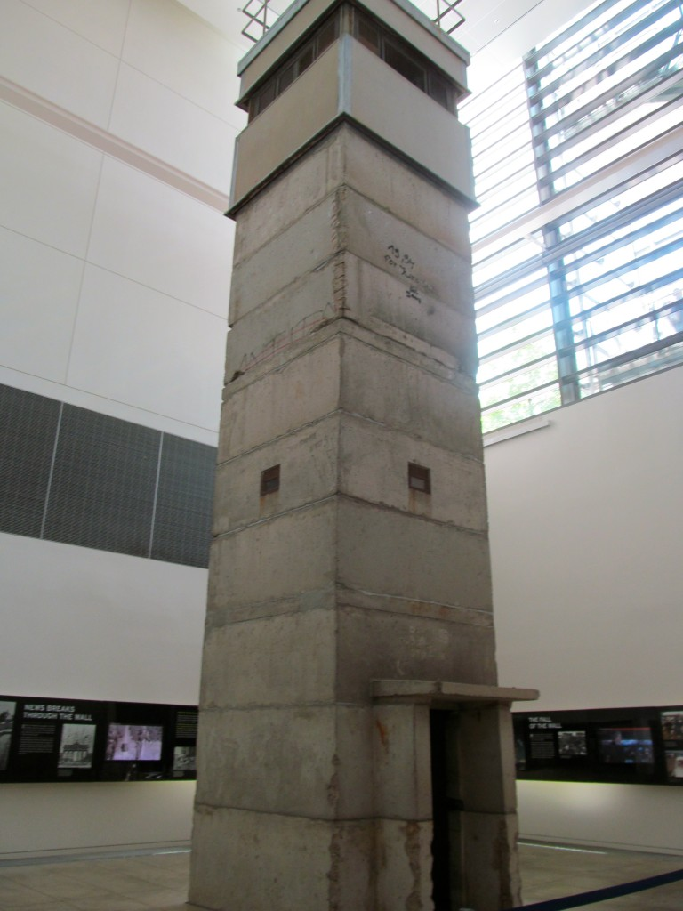 The director of the Checkpoint Charlie Museum in Berlin transferred the East German watchtower to the Newseum because he feared the guard towers would be destroyed to make way for commercial development.