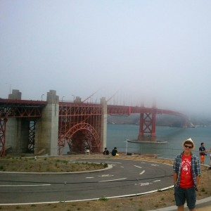 Standing by the disappearing Golden Gate Bridge this past June.