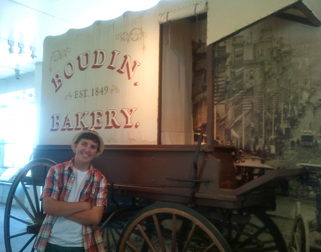 Is this teenager smiling in a museum?  Yes, because he was able to sample the sourdough bread!