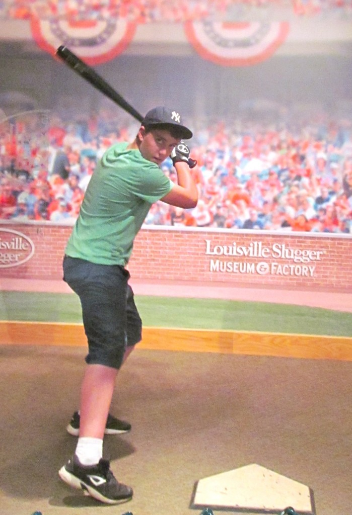 Trying out one of Derek Jeter's bats at the Louisville Slugger Museum & Factory this past May.