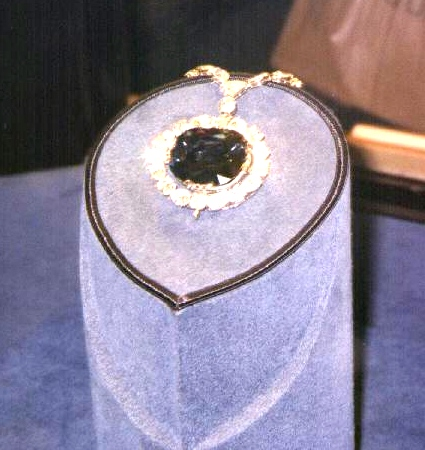 The Hope Diamond spins in  its display case at the Smithsonian National Museum of Natural History.