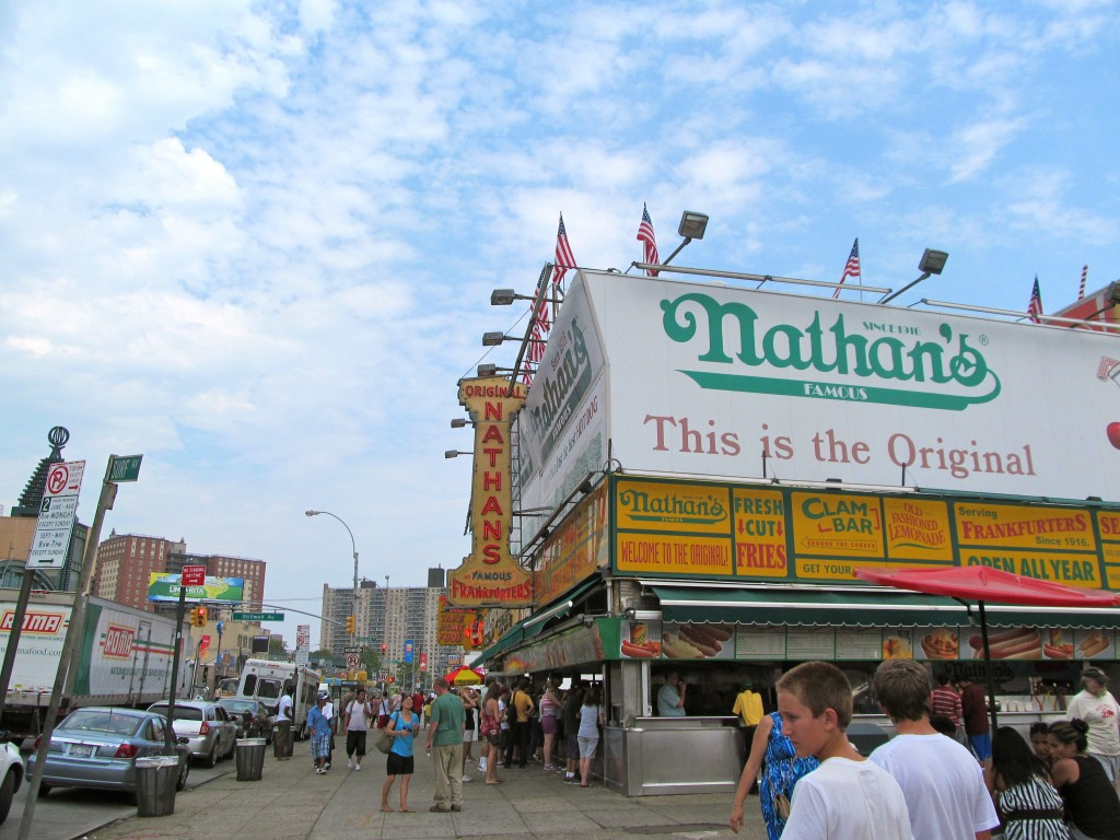Nathan's in Coney Island:  Home of the Hot Dog