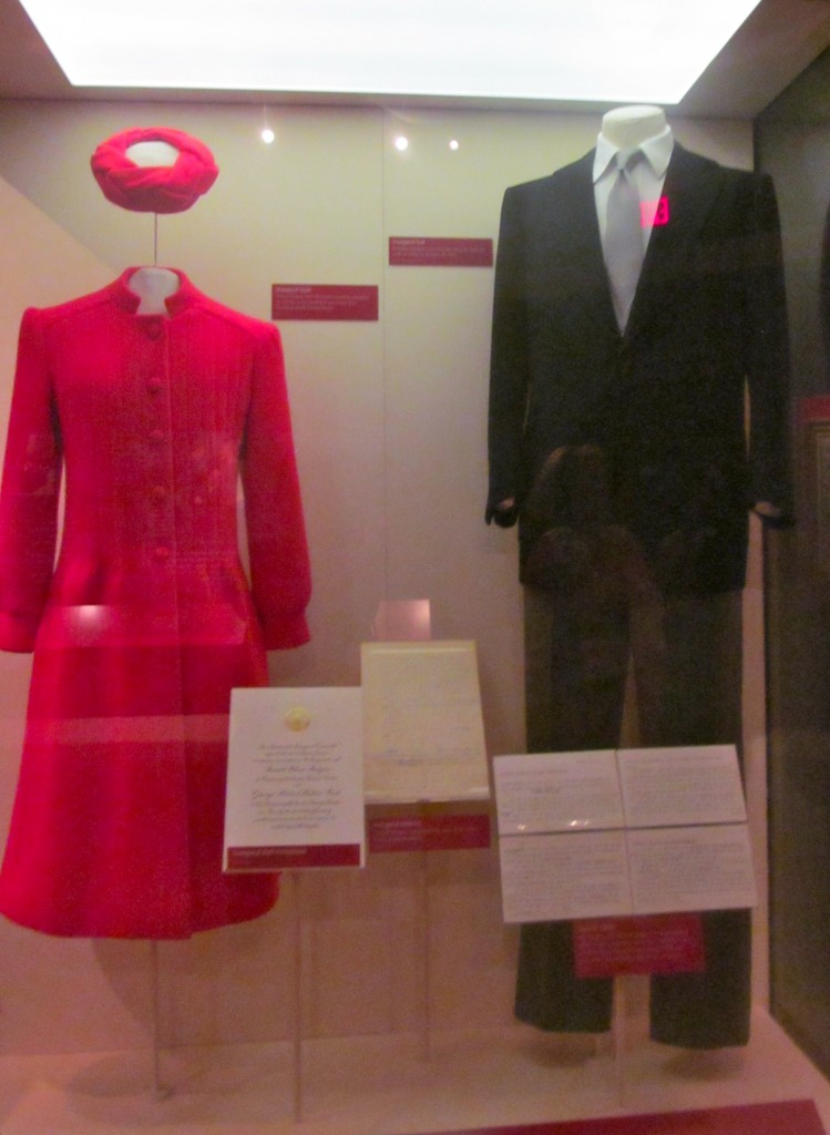 The clothes worn by the President Reagan and Mrs. Reagan on Inauguration Day.