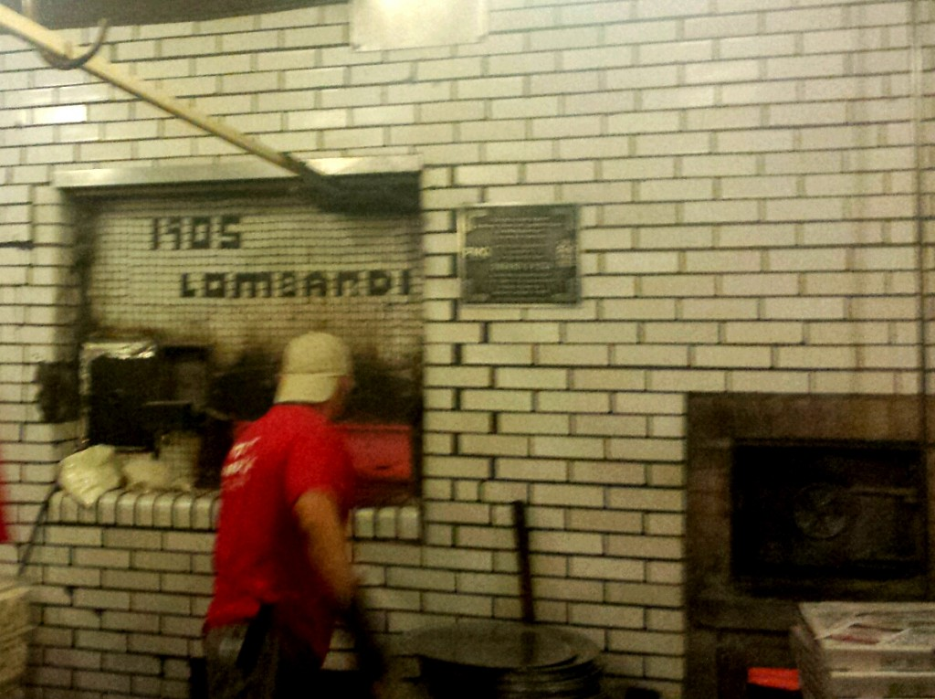 The tiles were moved from the original oven when Lombardi's moved down the street.