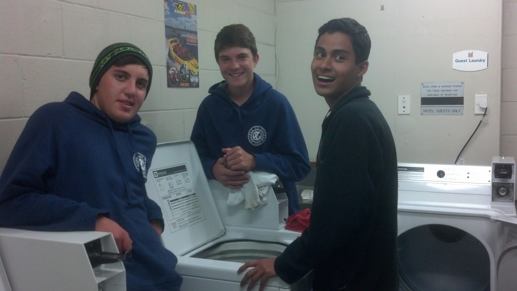 Learning how to do his own laundry.  Yes, he had to go across the world to learn this home chore.